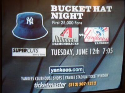 Yankees bucket hat night ad